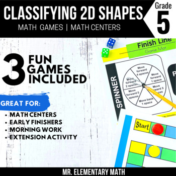 5th Grade Geometry Games and Centers | 2-D Shapes and Attributes