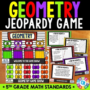 5th Grade Geometry Jeopardy Game Show {5.G.1, 5.G.2, 5.G.3, 5.G.4, 5.OA.3}