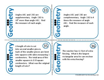 Geometry Task Cards Math Problem Of The Day 5th Grade Word