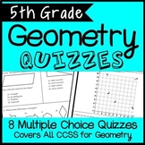 5th Grade Geometry Quiz Bundle, Covers all Geometry CCSS, Includes 8 Quizzes!