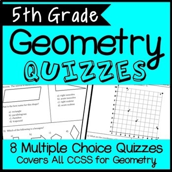 5th Grade Geometry Quiz Bundle, Covers all Geometry CCSS,