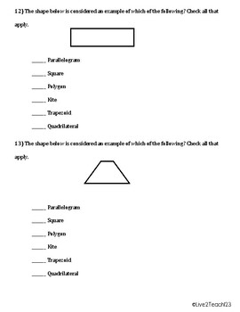 5th Grade Geometry Review