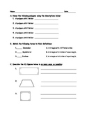 5th Grade Geometry Review or Quiz Including Adapted Version and Answer Key