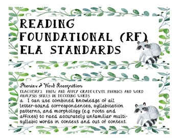 5th Grade Georgia ELA Standards - Watercolor Woodland Animals & Plants Theme