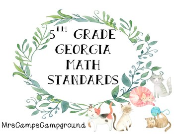 5th Grade Georgia Math Standards - Watercolor Cat Theme