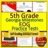 5th Grade Georgia Milestones Test Prep EOG GMAS ELA SELF-GRADING GOOGLE FORMS!