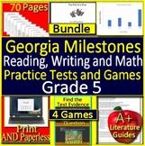5th Grade Georgia Milestones Writing, Reading, & Math SELF-GRADING Tests & Games
