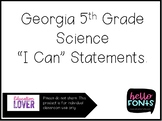 """5th Grade Georgia Science and Social Studies """"I can"""" Statements"""
