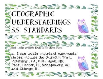 5th Grade Georgia Social Studies Standards - Watercolor Owl Theme