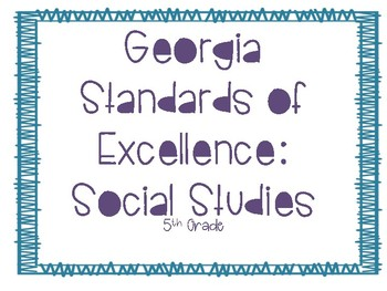 NEW 5th Grade Georgia Standards of Excellence (GSE) Social Studies Posters
