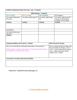 5th Grade Go Math Chapter 1 with performance tasks and spreadsheets