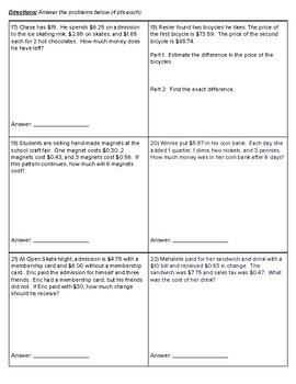 5th Grade Go Math- Chapter 3 Assessment