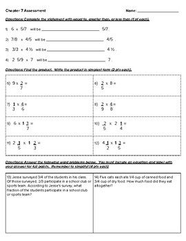 5th Grade Go Math- Chapter 7 Assessment