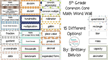 5th Grade Common Core Vocabulary Word Wall