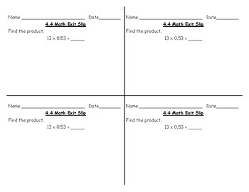 5th Grade Go Math Exit Slips, Chapter 4