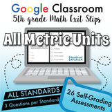 5th Grade Google Classroom Math Exit Slips⭐ALL METRIC UNITS⭐Digital Assessments