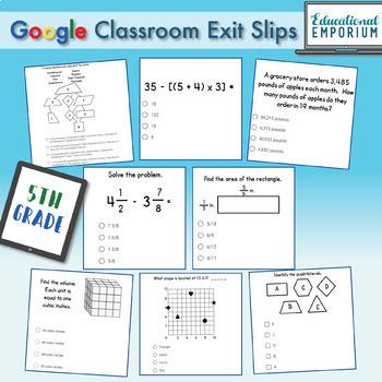 5th Grade Google Classroom Math Exit Slips, Auto-Graded Exit Tickets, Digital