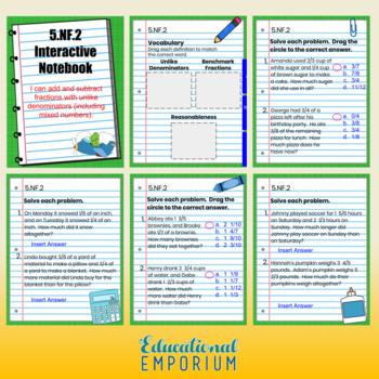 5th Grade Google Classroom Math Interactive Notebook, Digital: Fractions Domain