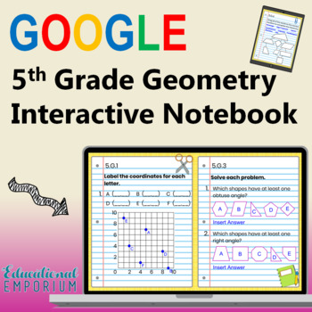 5th Grade Google Classroom Math Interactive Notebook, Digital: Geometry Domain