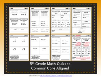 5th Grade Google Classroom Math Quizzes, Digital Math Quizzes, 5th Grade