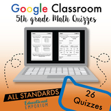 5th Grade Google Classroom Math Quizzes, Digital Math Quizzes, 5th Grade