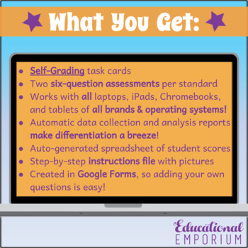 5th Grade Google Classroom Math Task Cards, Auto-Graded Task Cards, Digital
