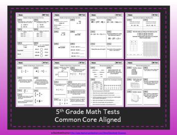 5th Grade Google Classroom Math Tests, Digital Math Tests, 5th Grade Math Tests