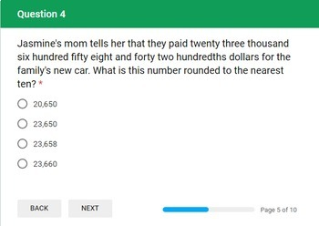 Whole Number and Decimal Addition and Subtraction Google Form Assessment