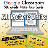 5th Grade Google Math Task Cards ⭐ ALL METRIC UNITS ⭐ Digital Assessments