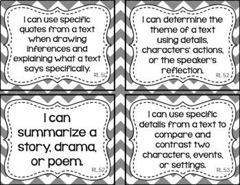 5th Grade Grade ELA I Can Statements for CCSS Standards (Gray Chevron)