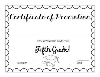 5th Grade Graduation Certificates Worksheets Teaching Resources Tpt