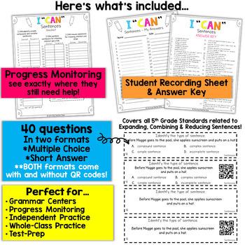 5th Grade Grammar Game   Expanding, Reducing, & Combining Sentences