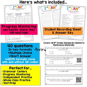 5th Grade Reference Materials Game