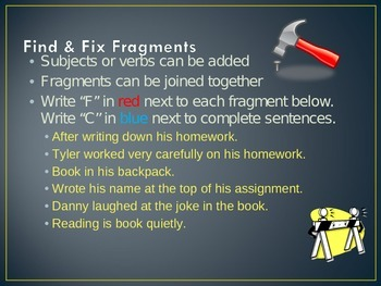 5th Grade Grammar Instructional PowerPoint - How to Edit, Fragments vs. Run-Ons