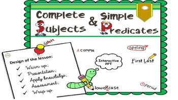 "PPT Grammar Lesson 4 ""Complete and Simple Subjects and Predicates"""