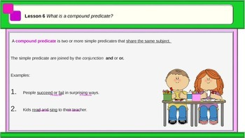 "PPT  Grammar Lesson 6 ""Compound Subjects and Predicates"""