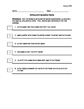 5th Grade Grammar Practice - Editing for Quotation Marks