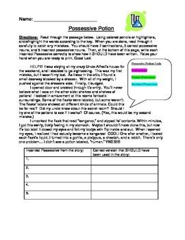 5th Grade Grammar Practice - Possessive Nouns vs. Contract