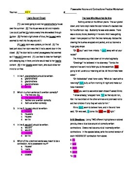 5th Grade Grammar Skill Practice Worksheet and KEY - Possessives & Contractions