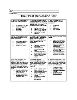 5th Grade Great Depression Test
