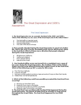 5th Grade Great Depression And Cultural Elements Of The 1930sessment