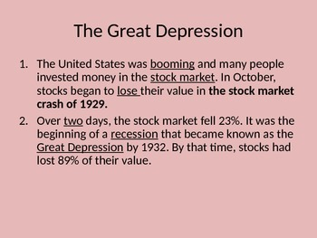 5th Grade Great Depression/New Deal PPT