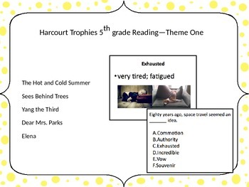 5th Grade Harcourt Trophies Reading Vocabulary Theme One