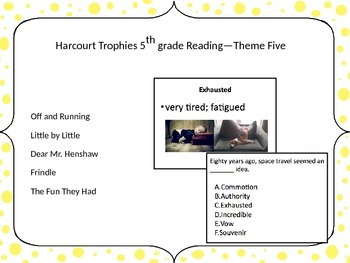 5th Grade Harcourt Trophies Vocabulary Powerpoint Theme Five