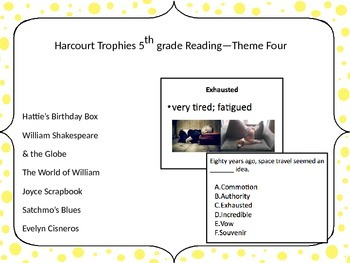 5th Grade Harcourt Trophies Vocabulary Powerpoint Theme Four