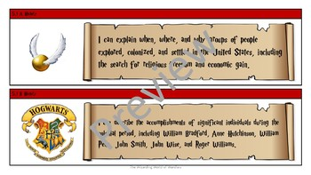 5th Grade Harry Potter ELAR and Social Studies Objective Statements