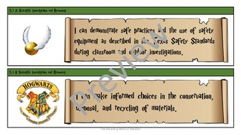 5th Grade Harry Potter Math and Science Objective Statements