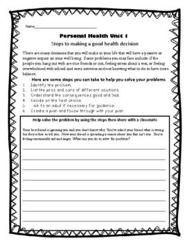 5th Grade Health - Unit 1: Personal Health
