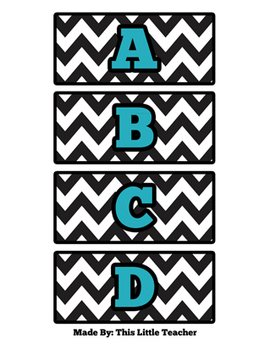5th Grade Word Wall Set - White & Black Chevron with Turquoise