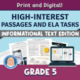 5th Grade High-Interest Informational Text Passages & TASK